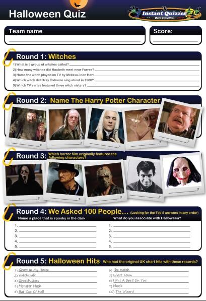 Halloween handout quizzes halloween quiz questions for Table quiz rounds